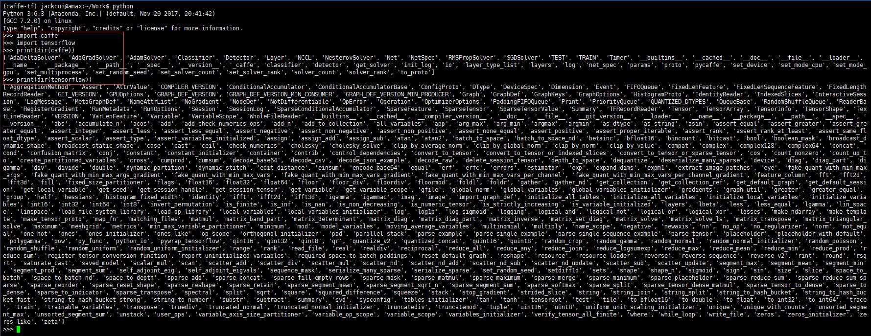安装教程(一):使用Anaconda创建caffe和tensorflow共存环境